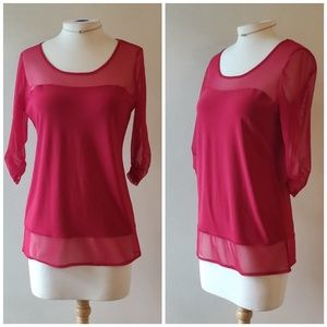 Picadilly | Red Sheer 3/4 Sleeve Sweetheart Top